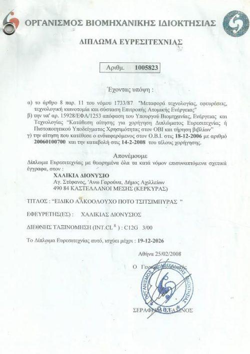 Diploma of Patent